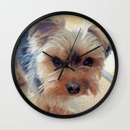 Yorkie | Dogs | Terrier | Pets | Humor | What!?! (with text) Wall Clock