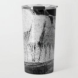 Hangin at Half Dome - White on Black Travel Mug