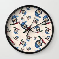 snowboarding Wall Clocks featuring Too Cool to Penguin by Schwebewesen • Romina Lutz