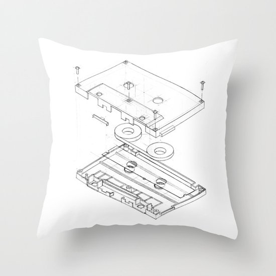 Exploded Cassette Tape  Throw Pillow