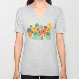 Cat in flower garden Unisex V-Neck