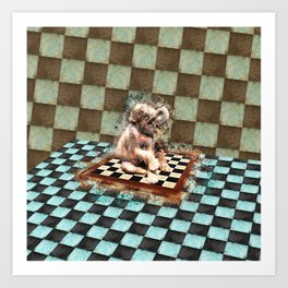 Baby Elephant on the chessboard digital art Art Print