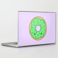 doughnut Laptop & iPad Skins featuring Yummy green kawaii doughnut by Holly