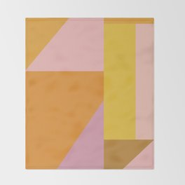 Shapes in Vintage Modern Pink, Orange, Yellow, and Lavender Throw Blanket