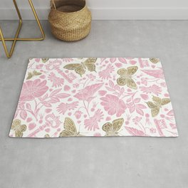 Elegant Rosewater Pink Gold Butterfly Floral Pattern Rug