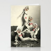 nudes Stationery Cards featuring RECLINING NUDE CLOWNS (censored) by Julia Lillard Art