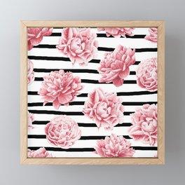 Simply Drawn Stripes and Roses Framed Mini Art Print