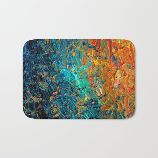 ETERNAL TIDE 2 Rainbow Ombre Ocean Waves Abstract Acrylic Painting Summer Colorful Beach Blue Orange Bath Mat