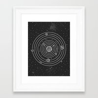 solar system Framed Art Prints featuring SOLAR SYSTEM by Mírë