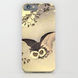 Koson Ohara - Scops Owl in Flight, Cherry Blossoms and Full Moon - Japanese Vintage Woodblock iPhone Case