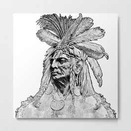 Chief / Vintage illustration redrawn and repurposed Metal Print
