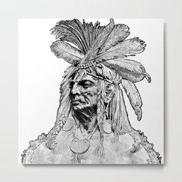 Chief / Vintage illustration redrawn and repurposed Metal Print