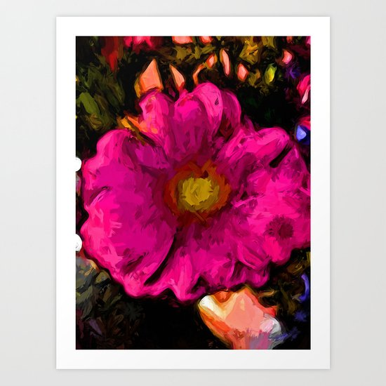 Pink Flower with a Gold Heart Art Print