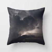 lightning Throw Pillows featuring Lightning by Nick Douillard