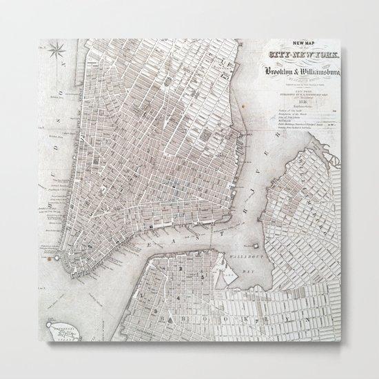 Vintage New York City Map Metal Print