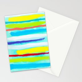 Ocean Blue Summer blue abstract painting stripes pattern beach tropical holiday california hawaii Stationery Cards
