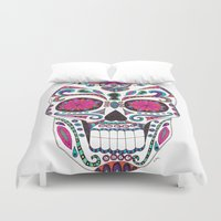 sugar skull Duvet Covers featuring Sugar Skull by Laura Maxwell