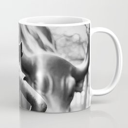Fearless Girl facing down the Charging Bull statue of Wall Street black and white photography Coffee Mug