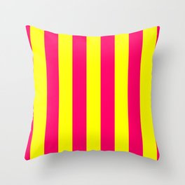 Bright Neon Pink and Yellow Vertical Cabana Tent Stripes Throw Pillow