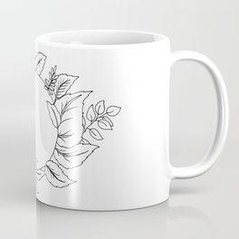 White Floral Circle Coffee Mug