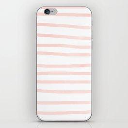 Seashell Pink Watercolor Stripes iPhone Skin