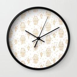 Elegant white gold faux glitter polka dots diamond pattern Wall Clock