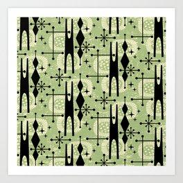Retro Atomic Mid Century Pattern 771 Sage Art Print