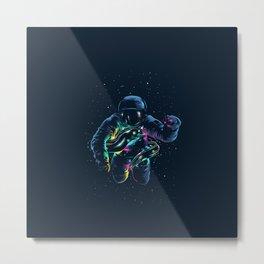 Fluo Astronaut Carp Metal Print
