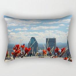 Flowers reaching for a Montreal Sky Rectangular Pillow