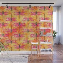 Watercolor Dragonfly Mandalas Pattern Wall Mural