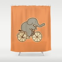 cycle Shower Curtains featuring Elephant Cycle by Terry Fan