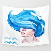aquarius Wall Tapestries featuring Aquarius by Aloke Design