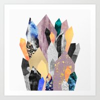 crystals Art Prints featuring Crystals by Elisabeth Fredriksson