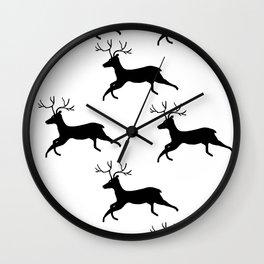 Prancing Deer Rustic Woodland Print Wall Clock