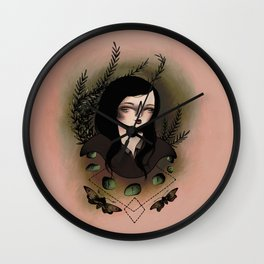 Girl With Moths Wall Clock