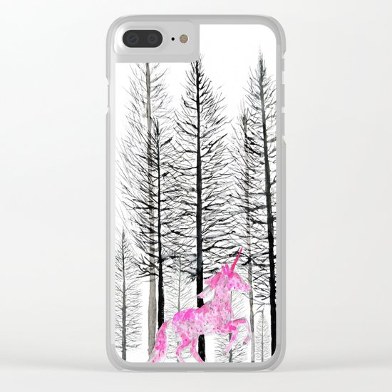Pink unicorn in the wood Clear iPhone Case