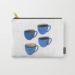 Classic blue coffee cups // coffee cup decor // coffee lover Carry-All Pouch