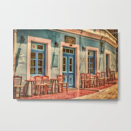 Pastel Cafe Peloponnese Greece Metal Print