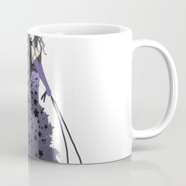 Witch Walking Two Black Cats with Star and Moon Hat in Purple Coffee Mug