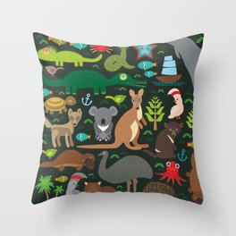 Animals Australia: Echidna Platypus ostrich Emu Tasmanian devil Cockatoo parrot Wombat snake turtle Throw Pillow