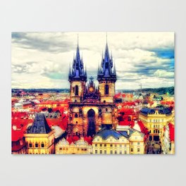 Prague Church Of Our Lady Before Tyn Watercolor Canvas Print