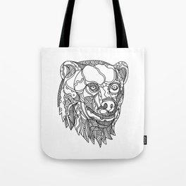 Brown Bear Head Doodle Tote Bag