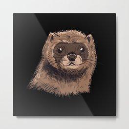 Mink head drawing cute mink animal lover gifts Metal Print