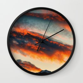 Sunset Over the Mountains (Color) Wall Clock