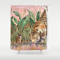 tigers Shower Curtains featuring Thirsty Tigers by Judith Chamizo