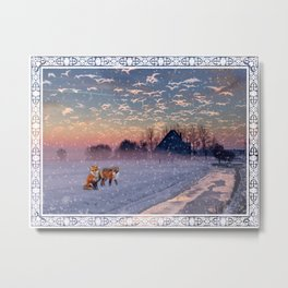 Winter Foxes Metal Print