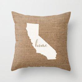 California is Home - White on Burlap Throw Pillow
