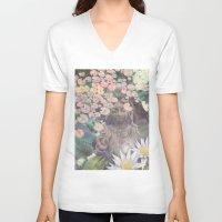 budi satria kwan V-neck T-shirts featuring Reflections - Zen Garden Kwan Yin Goddess Art by Fusion Idol
