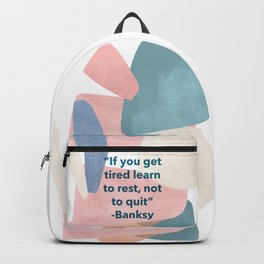 inspirational Banksy quote on pastel abstract Backpack