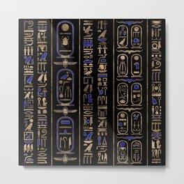 Egyptian hieroglyphs pattern Gold Lapis Lazuli #2 Metal Print